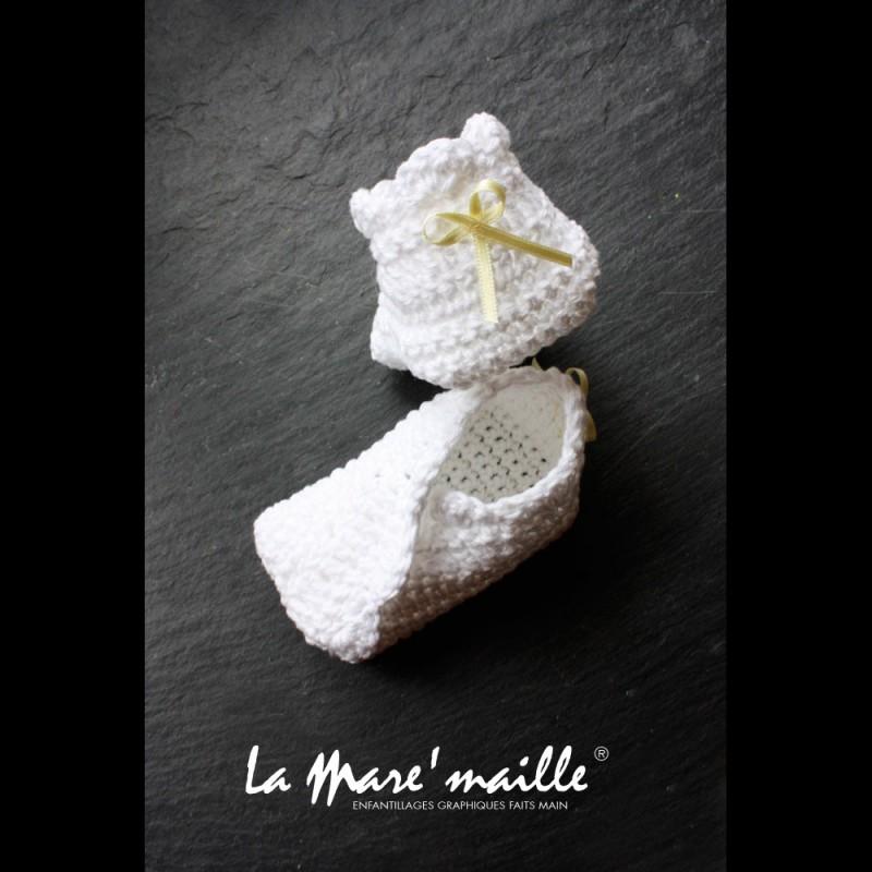 Chaussons bébé maille laine bleu ciel et taupe