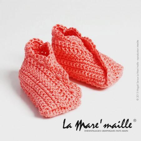 Chaussons bébé maille laine unis et rayés rose et violet