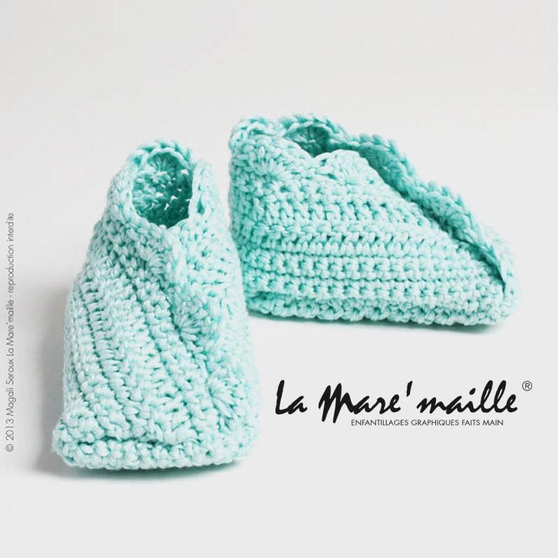 Chaussons bébé maille laine bicolores fuchsia