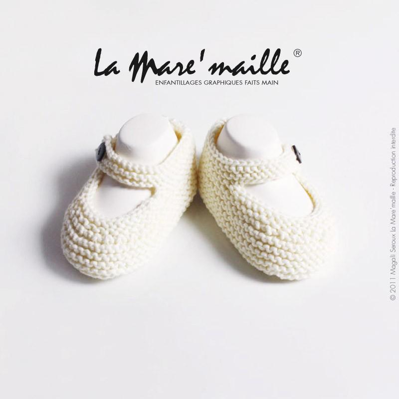 Braderie États Unis tout neuf Chaussons bébé laine mixte coton bio uni blanc tricot main en France