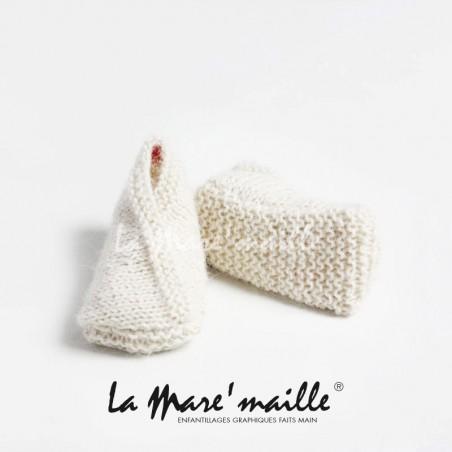 Chaussons bébé maille laine Merinos beige chiné