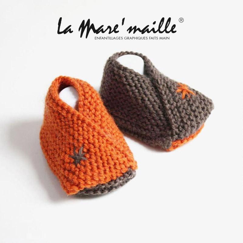 chaussures de séparation 49713 ca3ec Chaussons bébé mixte en laine orange et marron tricotés main en France
