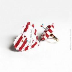 Bague coeur textile Même...