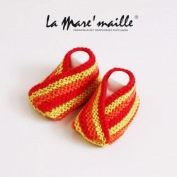 Chaussons bébé coton rouge...