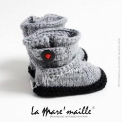 Chaussons bébé laine gris...