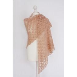 Châle XL en laine rose pour...