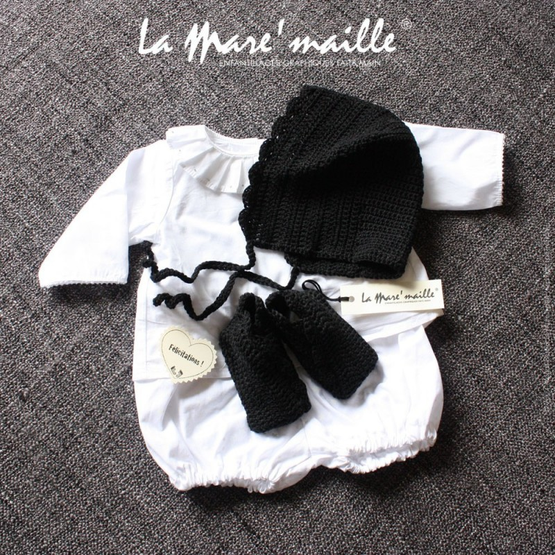 Chaussons et béguin bébé chics et mixtes en coton noir crochetés main