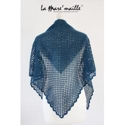 Chèche XL en laine bleu...