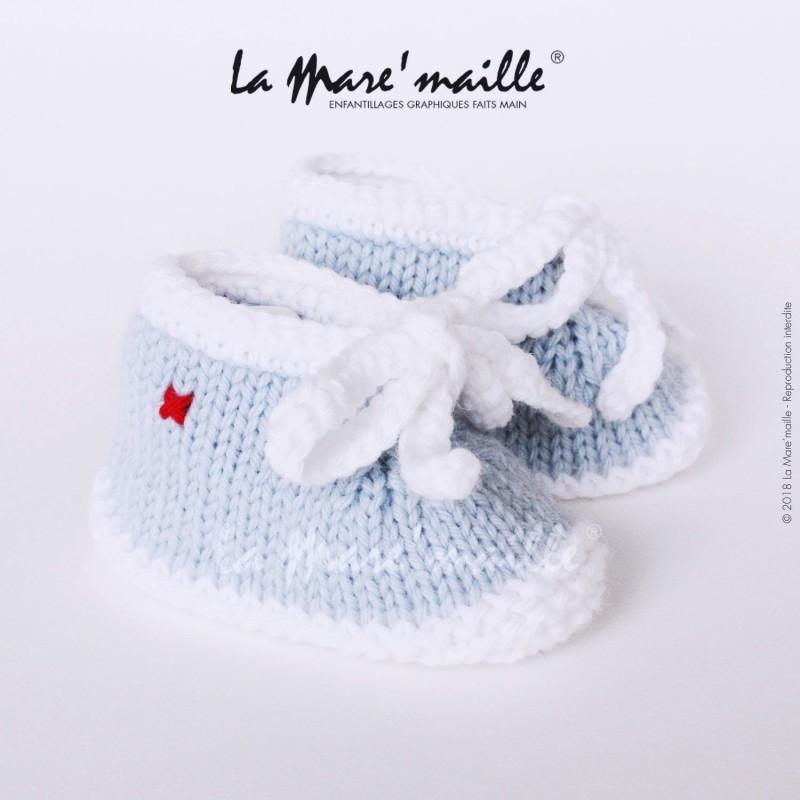 design de qualité 00dc0 f39bb Chaussons bébé maille garçon façon basket laine en bleu ciel tricot main