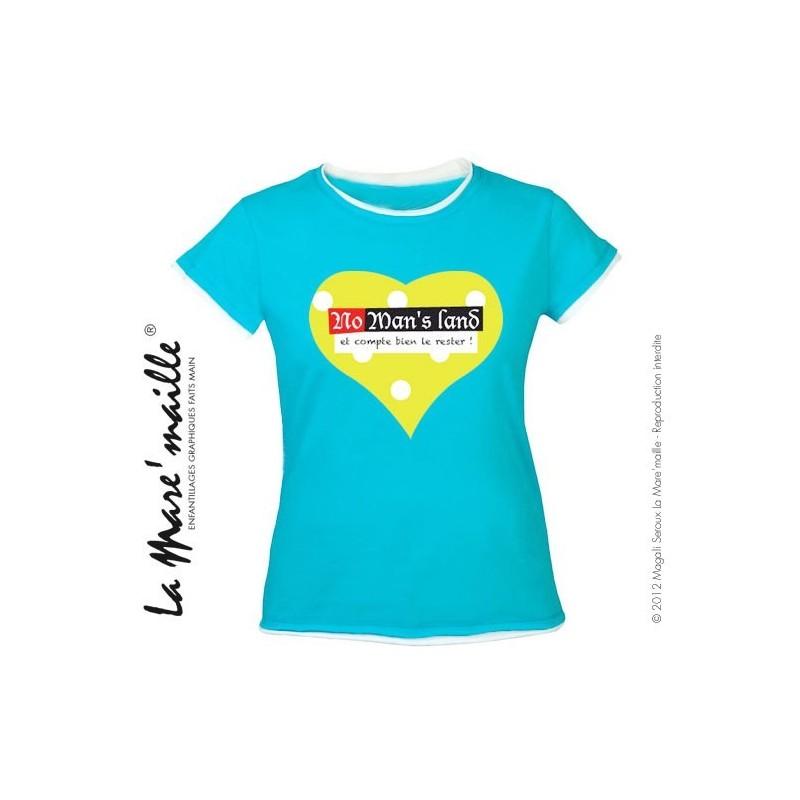 premium selection preview of shop best sellers Tee-shirt femme bleu coeur message No man's land tailles M-L soldées