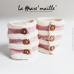 Guêtres bébé bohème laine rose