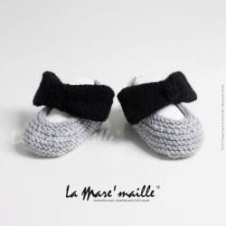 Chaussons bébé maille laine blanche