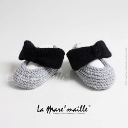 Chaussons bébé laine grise...